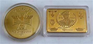 WWII GERMAN THIRD REICH GOLD PLATED COIN & BAR LOT