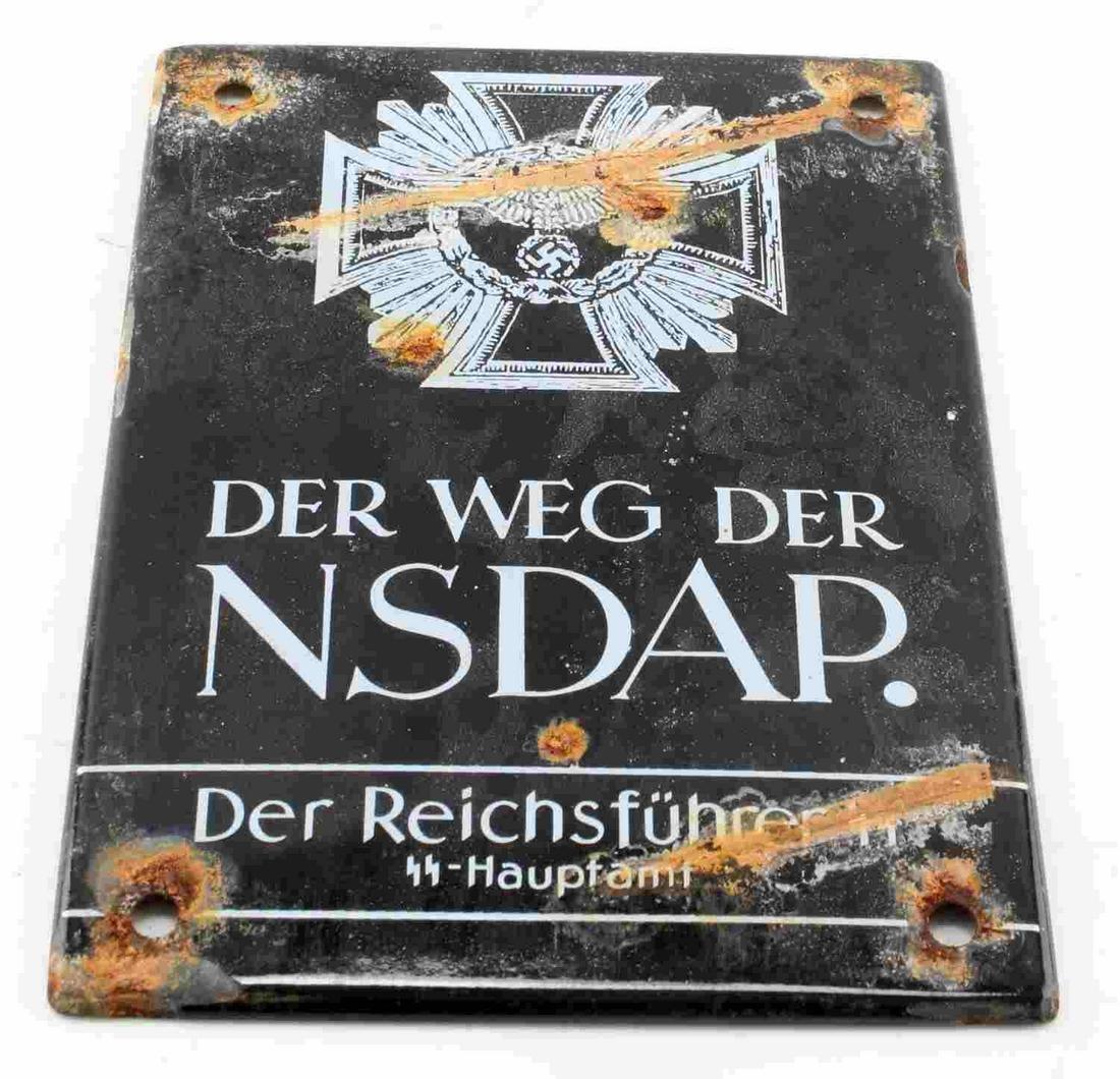 GERMAN WWII ENAMELED NSDAP PROPAGANDA STREET SIGN
