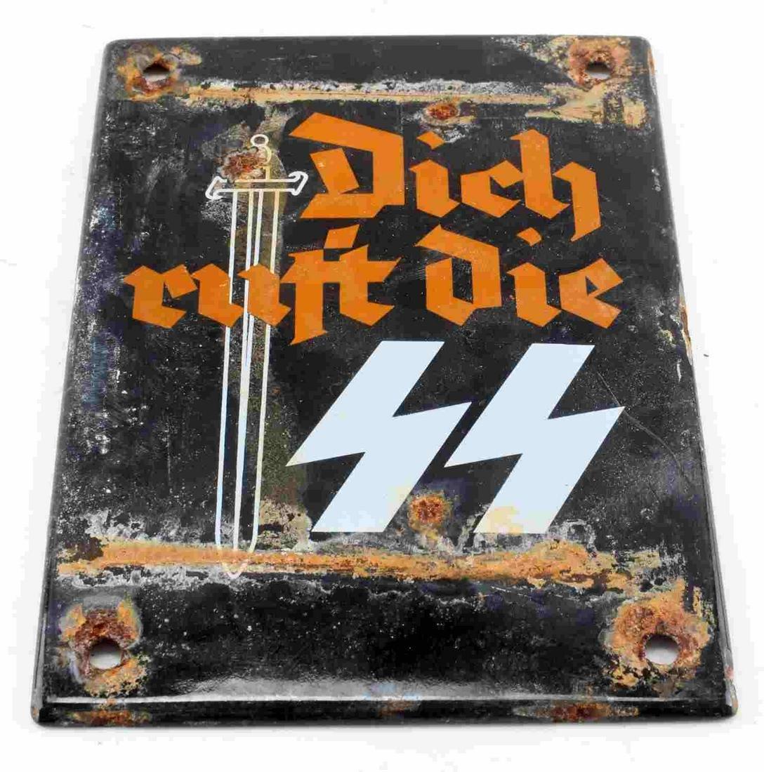 WWII GERMAN 3RD REICH WAFFEN SS PROPAGANDA SIGN