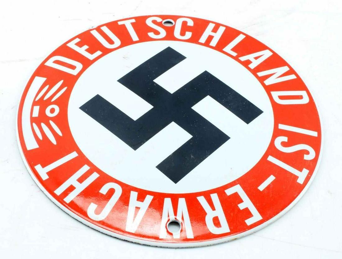 WW2 GERMAN 3RD REICH ENAMEL STREET SIGN PROPAGANDA
