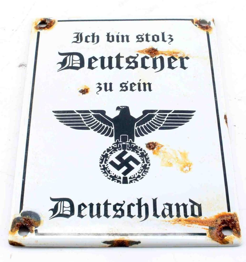 WWII GERMAN THIRD REICH PORCELAIN PROPAGANDA SIGN