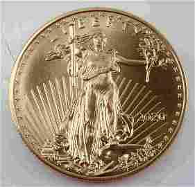 2020 GOLD 1 OZ AMERICAN EAGLE BU COIN 999 FINE