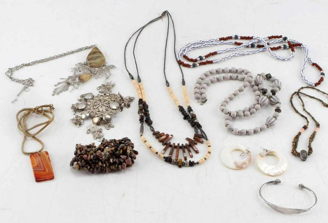 ETHNIC NATIVE SILVER STONE AND BEAD JEWELRY LOT
