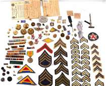 LARGE LOT OF MILITARY BADGES RANK PATCHES RIBBONS
