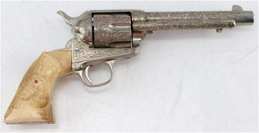 COLT SINGLE ACTION ARMY ENGRAVED HORN GRIPS .45