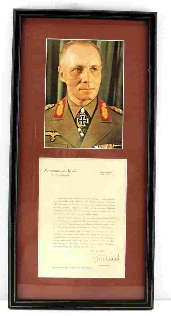 WWII GERMAN THIRD REICH ROMMEL SIGNED DOCUMENT