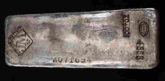 100 OUNCES JOHNSON MATTHEY 999 SILVER BULLION BAR