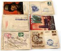 WWII GERMAN THIRD REICH POSTCARD LOT WITH STAMPS
