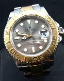 ROLEX MENS YACHT MASTER GOLD AND STAINLESS WATCH