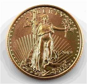 2019 GOLD AMERICAN EAGLE 1/10 OZ FINE BU COIN