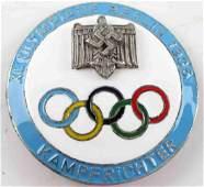GERMAN 3RD REICH 1936 OLYMPICS ENAMELED BADGE