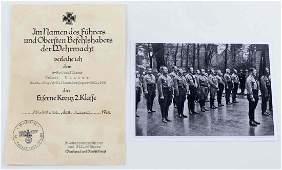 WWII GERMAN THIRD REICH IRON CROSS AWARD DOCUMENT