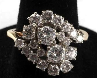 14KT W 1.5 TCW DIAMOND CLUSTER COCKTAIL RING