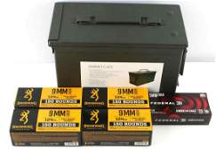 650 ROUNDS OF 9 MM LUGER AMMO BROWNING FEDERAL CAN