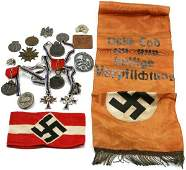 WWII GERMAN BADGES & MEDAL LOT PLUS OTHER ITEMS