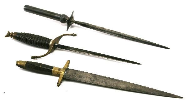 ANTIQUE STILETTO KNIFE & ANOTHER PLUS DAGGER