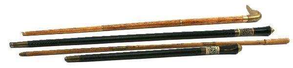 2 EBONISED WOOD & BONE SWORD CANE & SWAGGER STICK