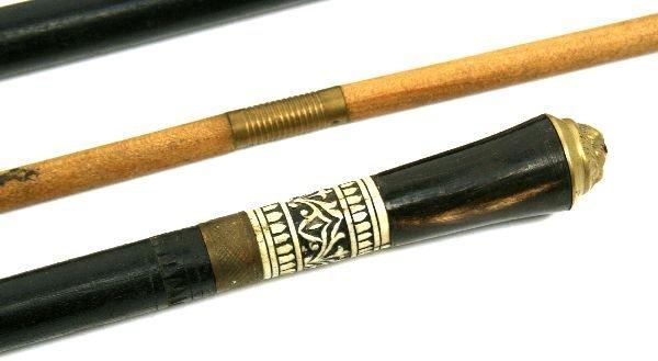 2 EBONISED WOOD & BONE SWORD CANE & SWAGGER STICK - 2