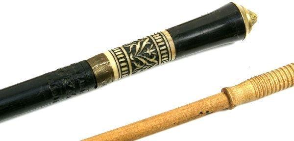 2 EBONISED WOOD & BONE SWORD CANE & SWAGGER STICK - 3