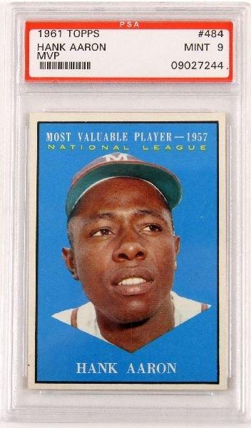 1961 TOPPS #484 HANK AARON MVP CARD PSA MINT 9