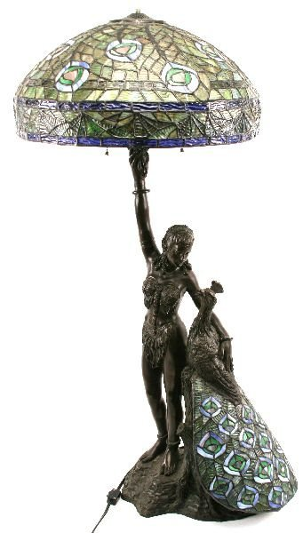 BRONZE GIRL & PEACOCK TIFFANY STYLE LAMP