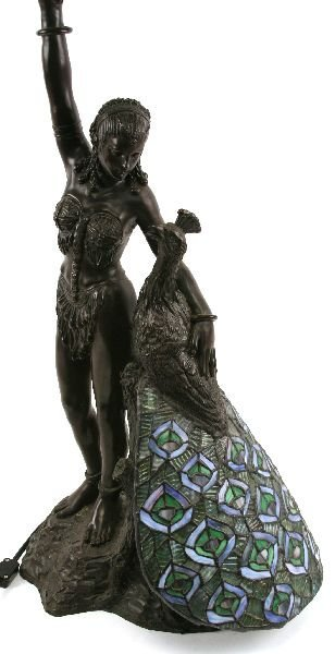 BRONZE GIRL & PEACOCK TIFFANY STYLE LAMP - 2