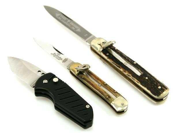 3 pocket knives tree brand hubertus switchblade