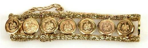 SHIMMERING MEXICAN 2 PESO GOLD COIN BRACELET