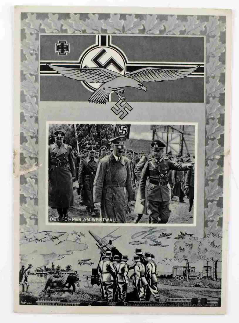 WWII GERMAN THIRD REICH HITLER SIGNED POSTCARD