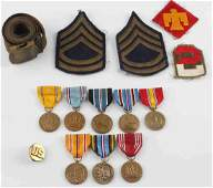 WWII US ARMY MILITARY OFFICER PATCH & MEDAL LOT