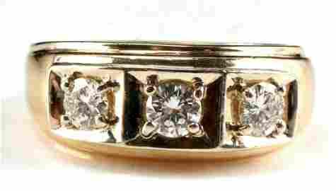 14KT GOLD MENS 1 TCW DIAMOND RING SIZE 13