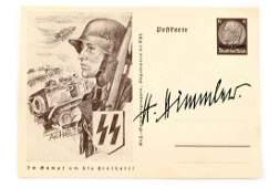 WWII GERMAN POSTCARD SIGNED BY HEINRICH HIMMLER