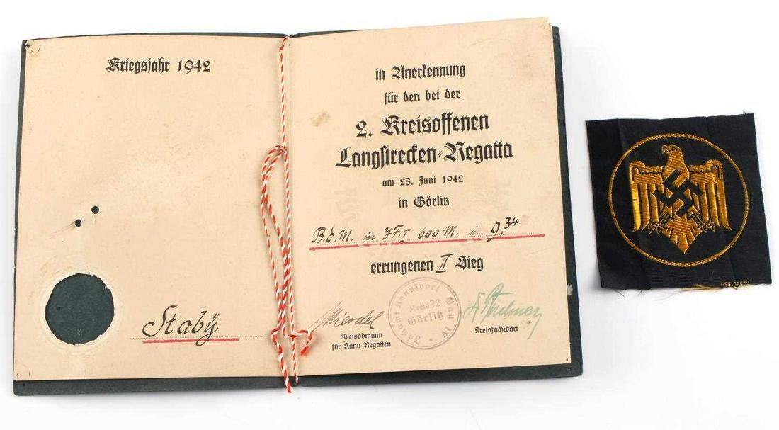 WWII GERMAN THIRD REICH HJ SPORT AWARD DOCUMENT
