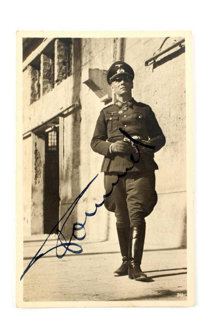 WWII GERMAN SIGNED POSTCARD PHOTO OF ERWIN ROMMEL