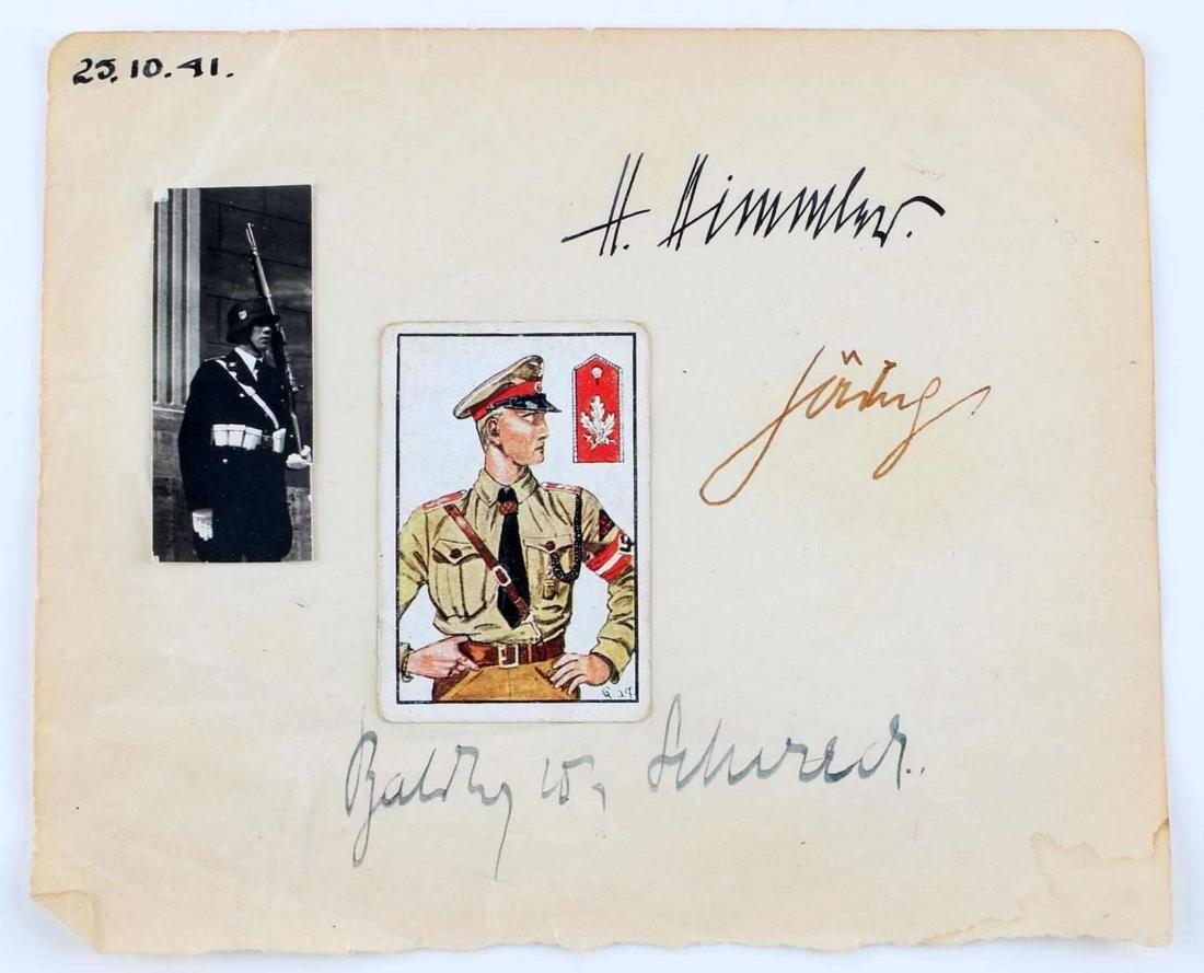 BOOK PAGE SIGNED BY GORING HIMMLER & VON SCHIRACH