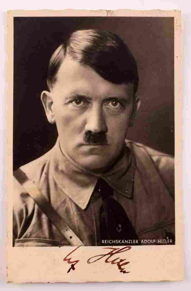 WWII GERMAN REICH SIGNED POSTCARD PHOTO OF HITLER