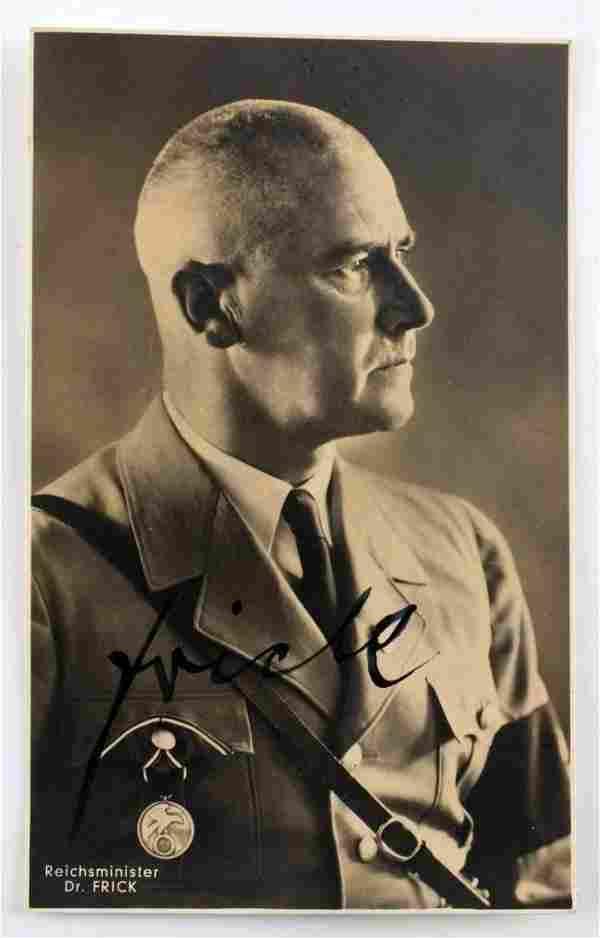 WWII GERMAN REICH POSTCARD SIGNED BY WILHELM FRICK