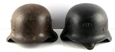 WWII GERMAN THIRD REICH M 40 & M 42 HELMET LOT