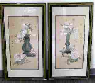 PAIR OF FRAMED CHINESE FLORAL SILK PAINTINGS