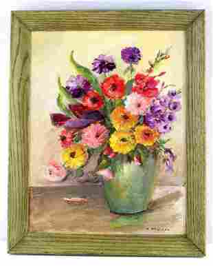 M. MCGOWAN SIGNED FLOWERS IN VASE OIL PAINTING