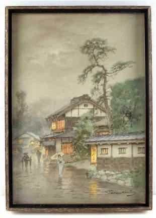 TERAUCHI MANJIRO JAPANESE WATERCOLOR LANDSCAPE