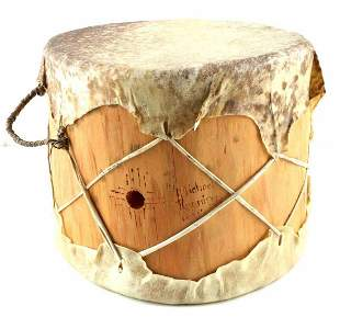 INDIAN WOOD HIDE MICHEAL RUNNING BEAR SIGNED DRUM