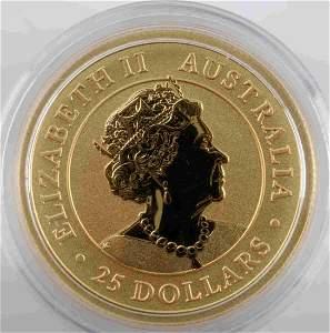 2021 AUSTRALIA  25.00 1/4 OZ GOLD KANGAROO COIN