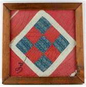 HAND STITCHED EARLY AMER ANTIQUE QUILT FRAGMENT