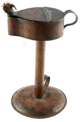 ANTIQUE 19TH CENTURY COPPER WHALE OIL LAMP