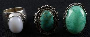 STERLING SILVER TURQUOISE AGATE FLUORITE RING LOT