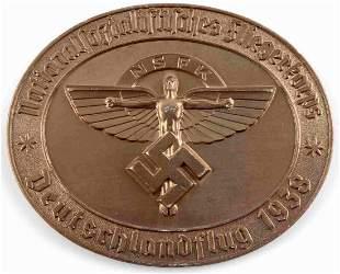 WWII GERMAN THIRD REICH NFSK BRONZE PLAQUE 1234