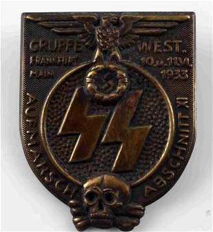 GERMAN WWII WAFFEN SS 1933 FRANKFURT GRUPPE BADGE