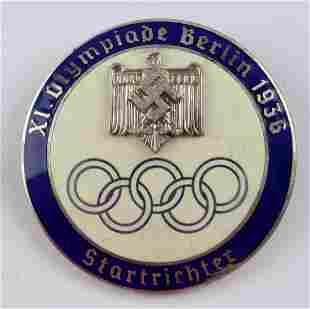 GERMAN WWII SILVER 1936 BERLIN OLYMPICS BADGE