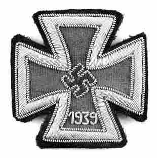 WWII GERMAN HAND EMBROIDERED IRON CROSS 1ST CLASS